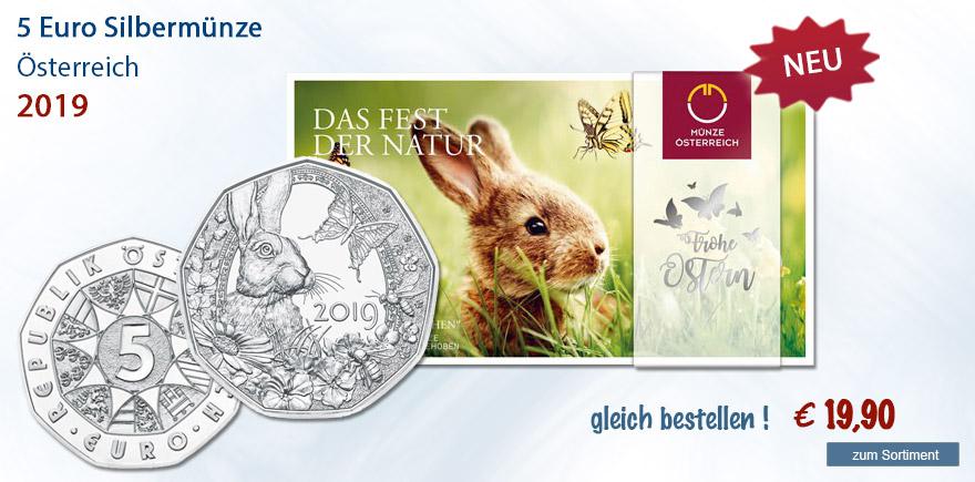 5 Euro Gedenkmuenzen Frohe Ostern Österreich 2019