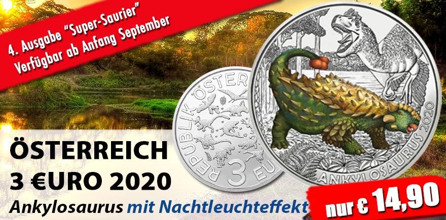 Österreich 3 Euro 2020 Super-Saurier - ANKYLOSAURUS mit Farb-Motiv