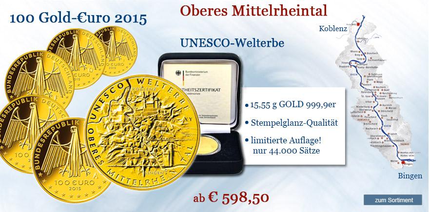 100 Euro Gold Münze Oberes Mittelrheintal