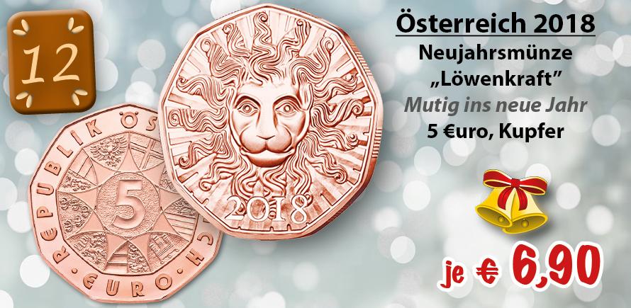 Neujahrsmünze Österreich 5 Euro 2018 Löwenkraft