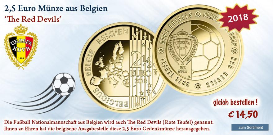 2,5 Euro Münze aus Belgien Fußball 2018