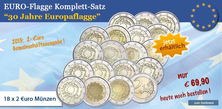 2 Euro 30 Jahre Europa Flagge Münzen komplett Set