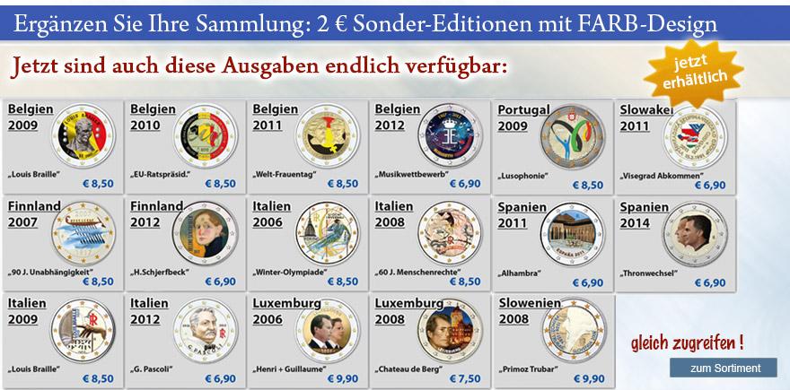 2 Euro Gedenkmünzen in Farbe