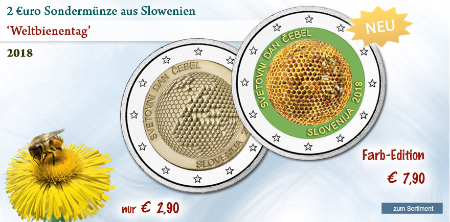 2 Euro Gedenkmünze von 2018 aus Slowenien Weltbienentag