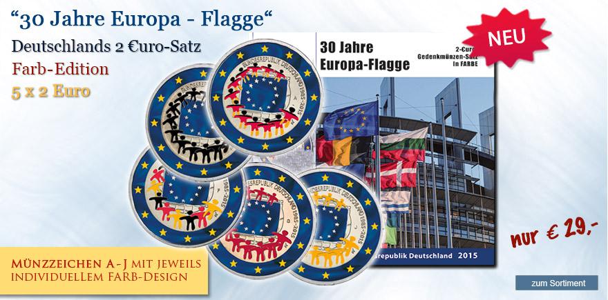 2 Euro Münzen Flagge Farb - Edition