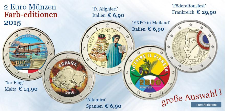 2 Euro farbe Münzen 2015