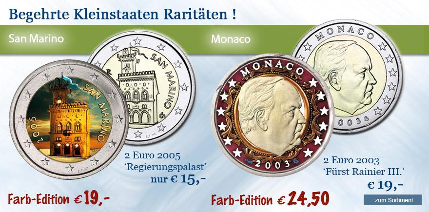 2 Euro Raritäten aus Monaco und San Marino bestellen