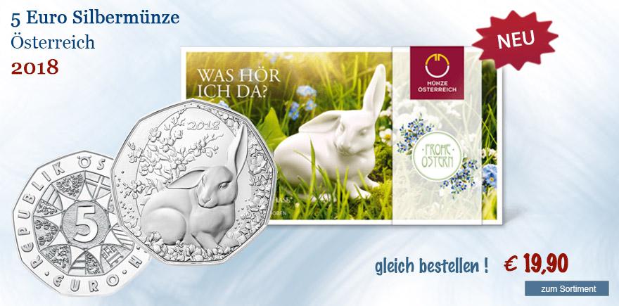 5 Euro Münze Österreich von 2018  Osterhase