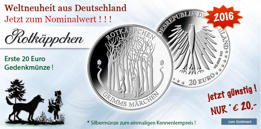 20 Euro silber Münze Rotkäppchen 2016 neue Serie