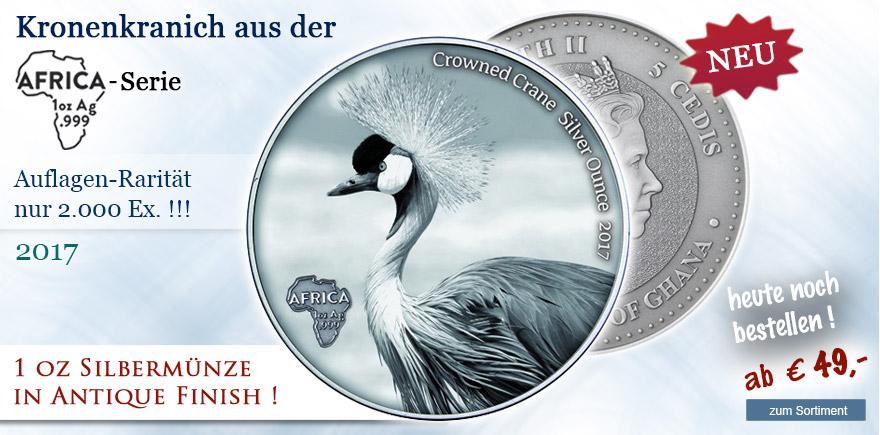 Münzen in Antique Finish Kronenkranich