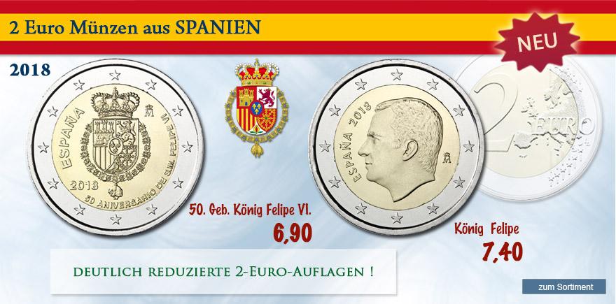 Euro 2 x Gedenkmünzen aus Spanien von 2018