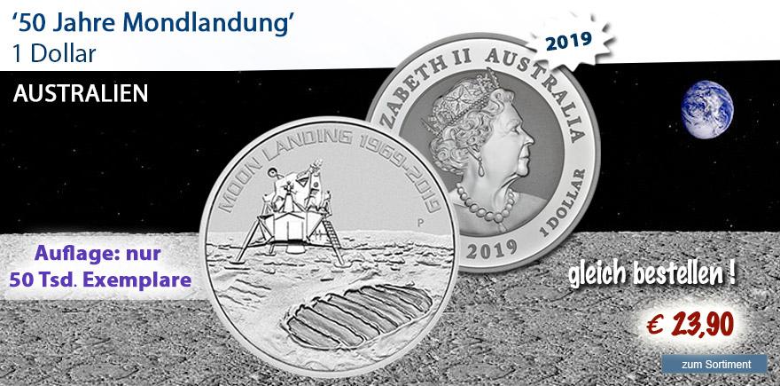 Silbermünze und Goldmünze 2019