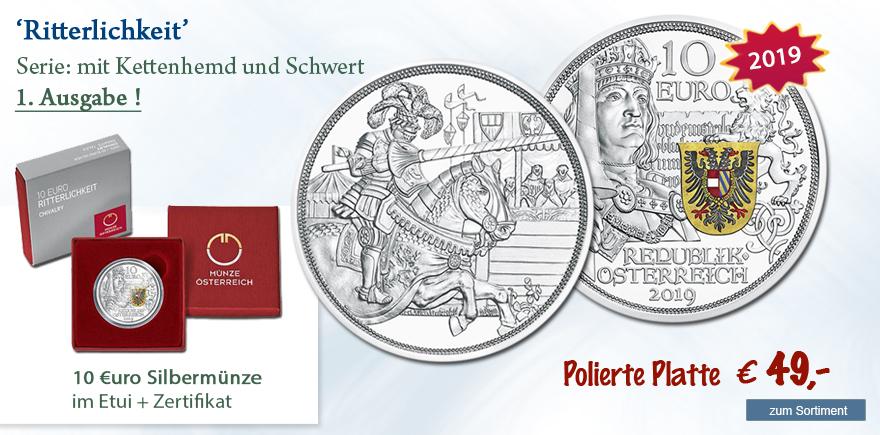 Gedenkmünze Silber 2019 Kettenhemd und Schwert