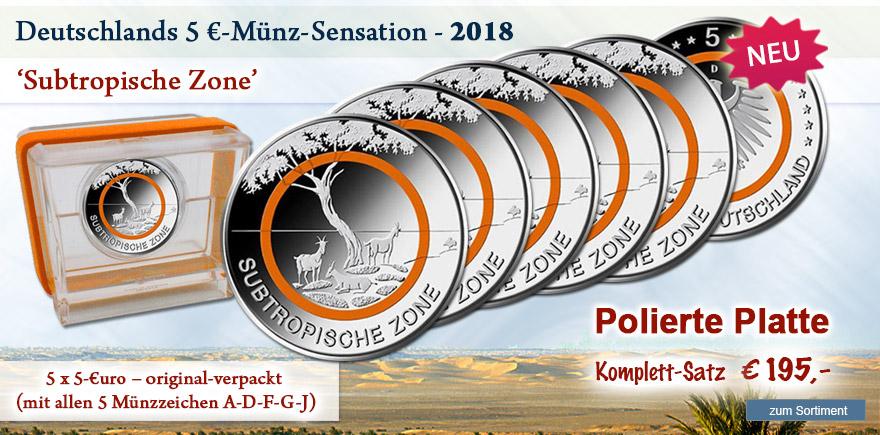 5 € Münzen 2018 Subtropische Zone Polierte Platte