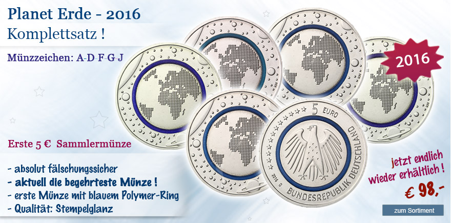 blauer Planet Erde 5 Euro Münzen