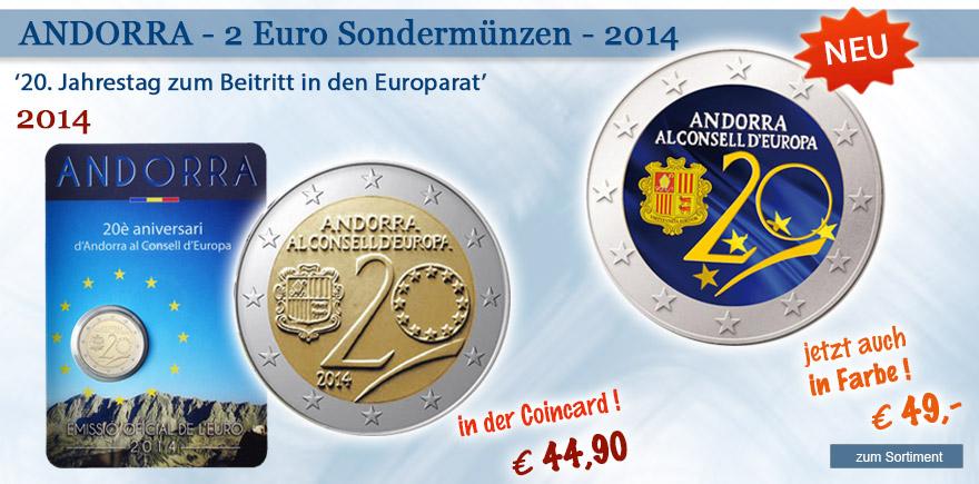 2 Euro Gedenkmünzen aus Andorra
