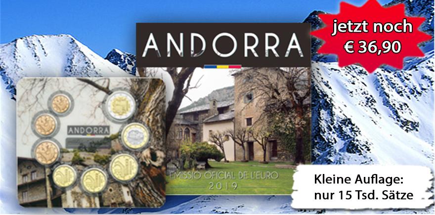Andorra 1 Cent - 2 Euro 2019 KMS im Folder