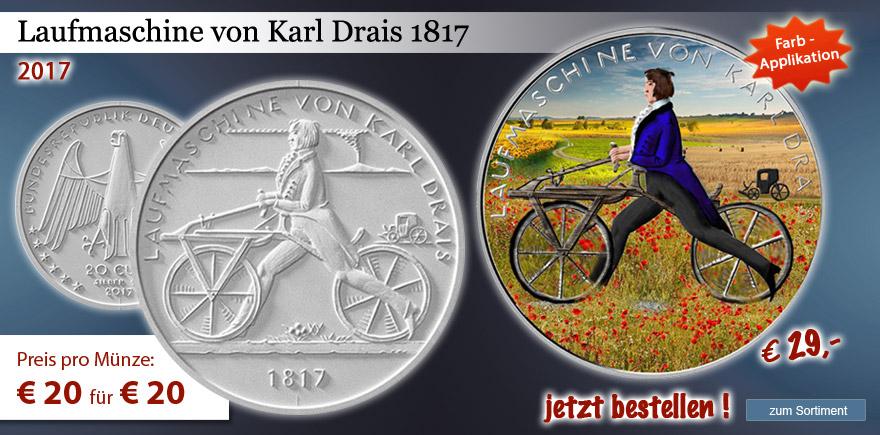 20 € Sammlermünze Laufmaschine Karl Drais mit Farbmotiv