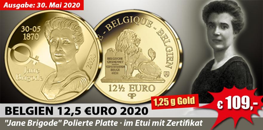 Belgien 12,5 Euro 2020 Jane Brigode im Etui mit Zertifikat