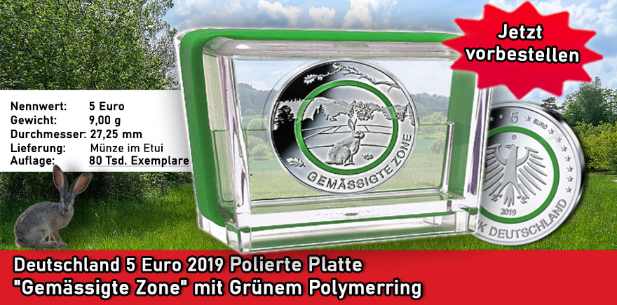 Deutschland 5 Euro Gemäßigte Zone 2019 A D F G J