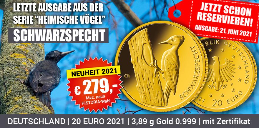 Gold Münze Schwarzspecht | Historia-hamburg.de
