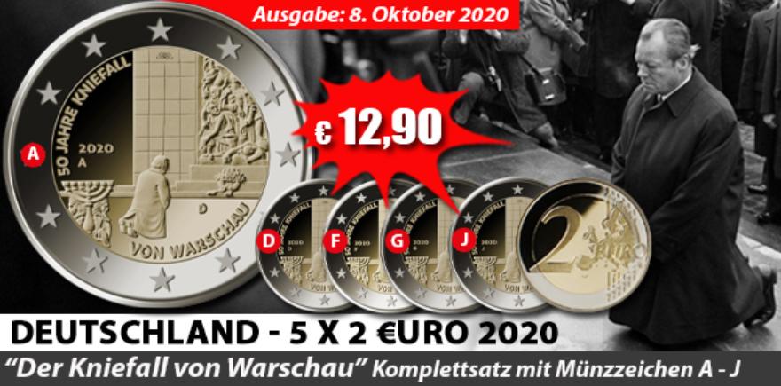 Deutschland 2 Euro 2020 Kniefall von Warschau