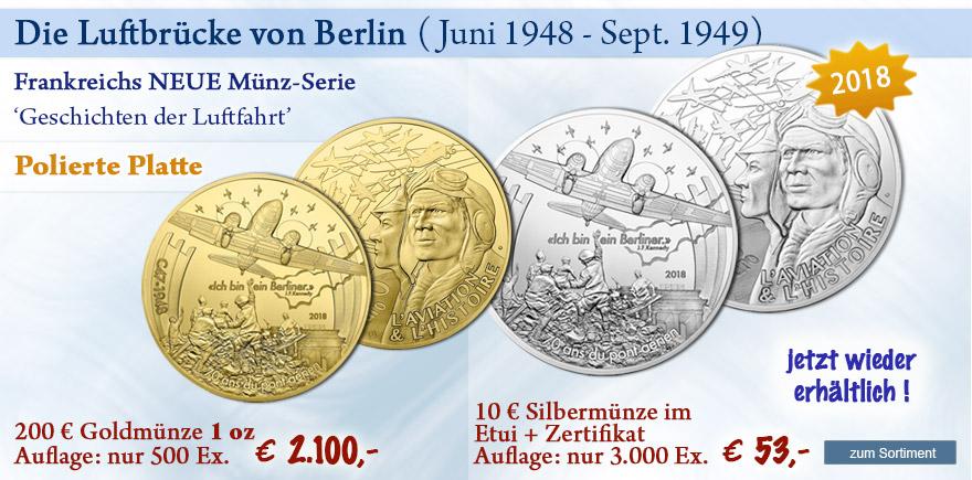 Frankreich Luftbrücke Silber und Gold Gedenkmünzen 2018