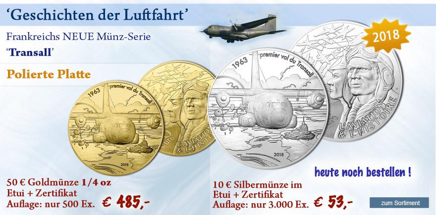 Transall - Euro Münzen aus Gold und Silber Frankreich