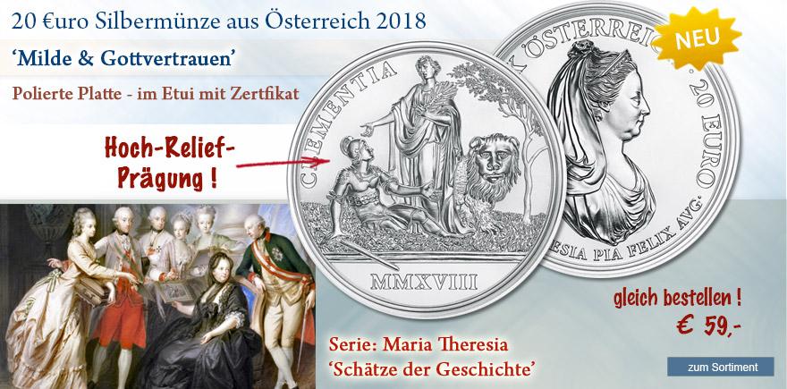 2018 Münze Österreich Maria Theresa Mild und Gottvertrauen