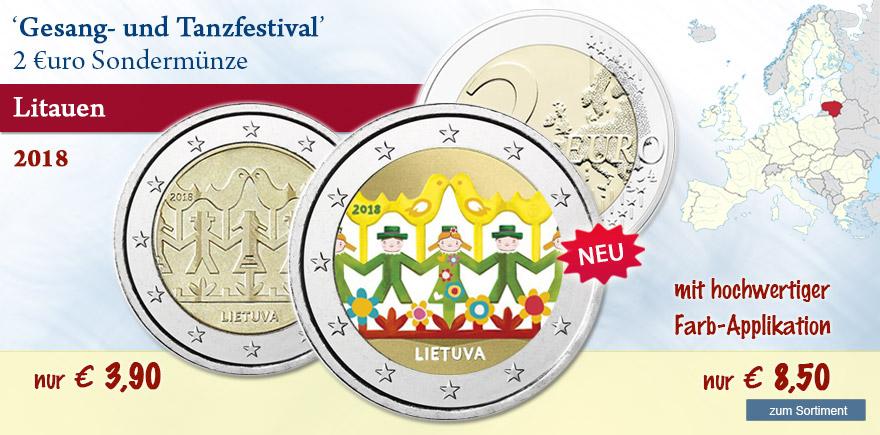 2 Euro Gedenkmünze aus Litauen Gesang und Tanzfestival