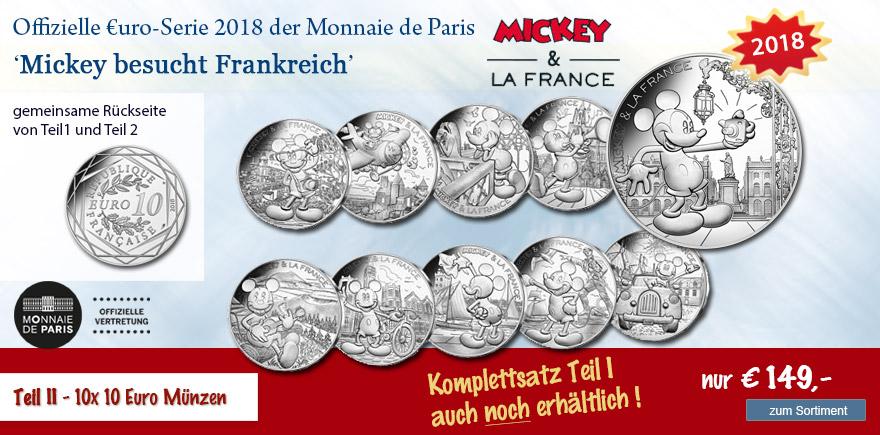 Euro Münzen Mickey Mouse aus Frankreich 2018