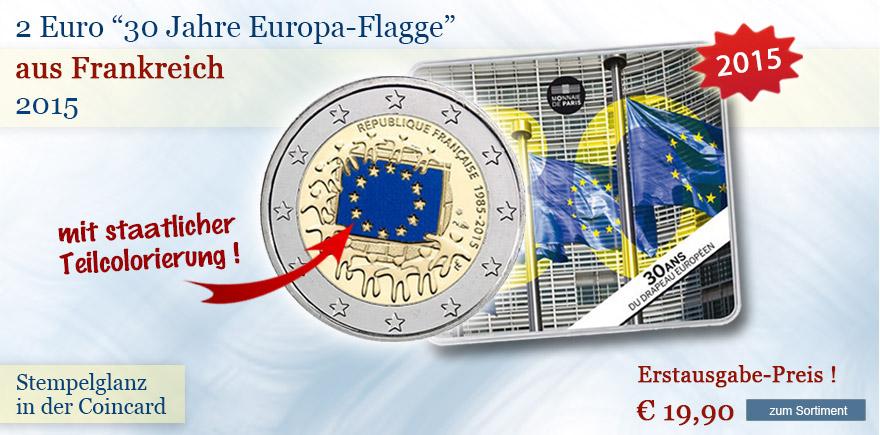 2 Euro Münzen 30 Jahre Europa Flagge Frankreich