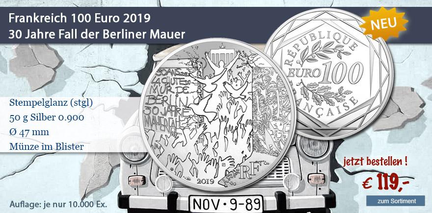 Gedenkmünze Frankreich 100 Euro 30 Jahre Mauerfall 2019