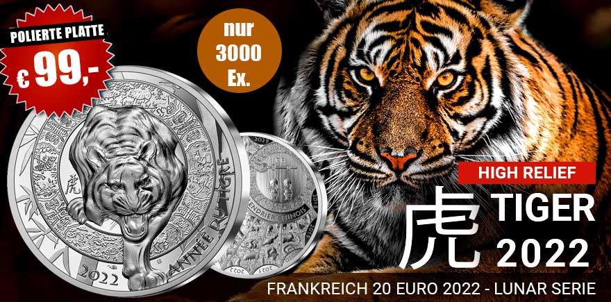 Frankreich 1 Oz Silber High Relief Tiger Münze 2022
