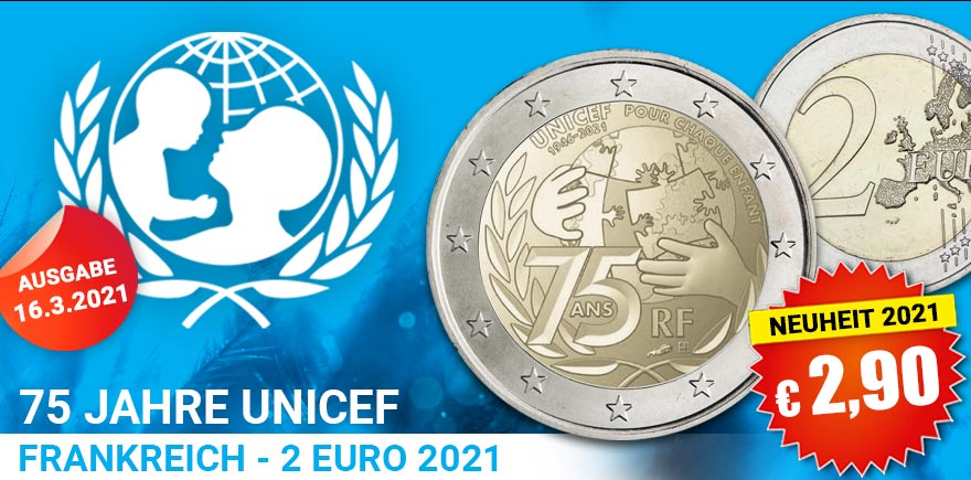 2-Euro-Sondermünze UNICEF Frankreich Münze