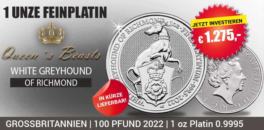 """Platin sorgt derzeit für Furore auf dem Markt  Die zehnte und damit letzte Ausgabe der beliebten """"Queen´s Beast"""" Serie von der Royal Mint zeigt das heraldische Abbild des """"White Greyhound of Richmond"""", welches für Unabhängigkeit und Ehre steht."""