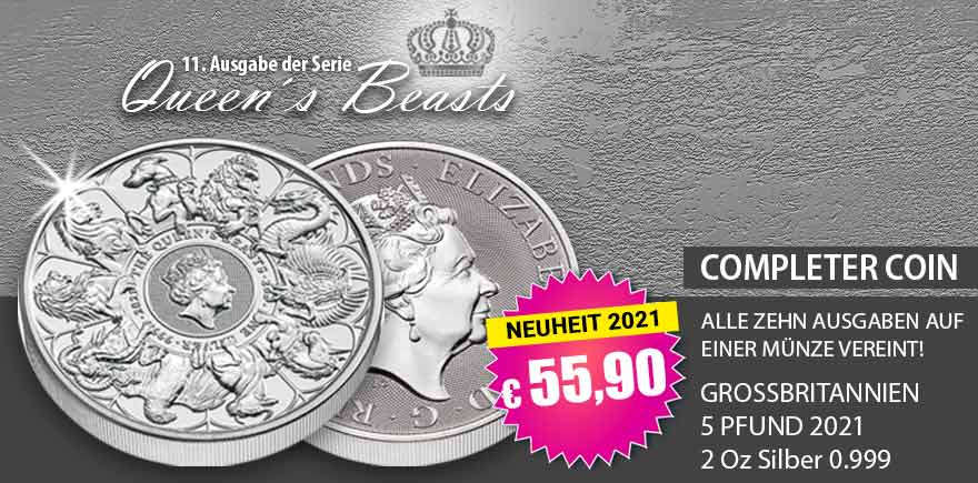 2 Oz Silbermünzen Queens Beasts Completer Coin Großbritannien 2021