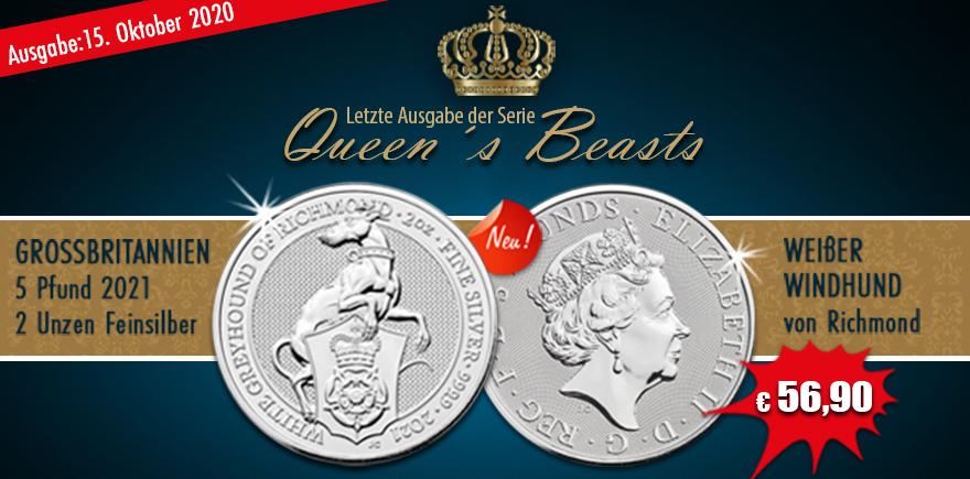 Großbritannien 5 Pfund 2020 Queen's Beasts Greyhound of Richmond 2 Oz Silber