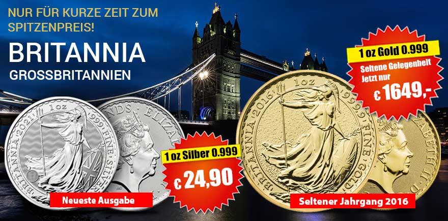 Britannia Gold und Silberunzen