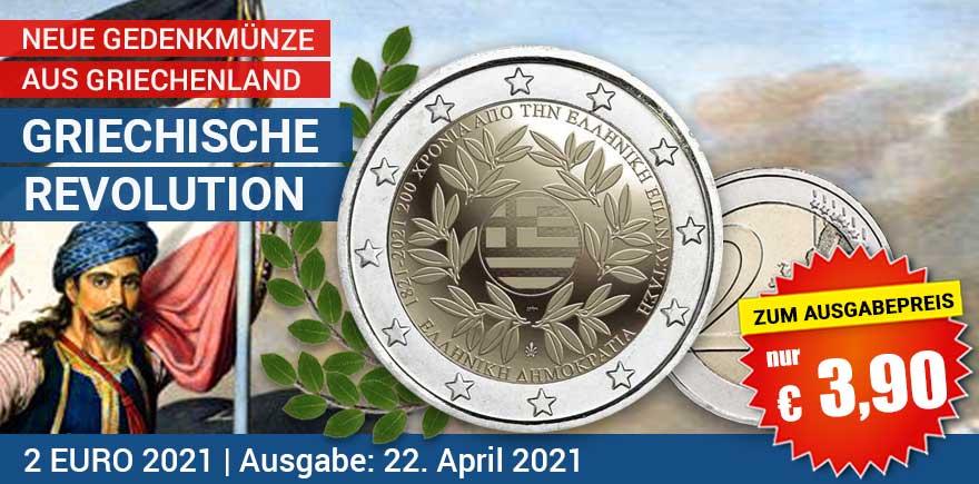 2-Euro-münze 2021 Revolution Griechenland | bei Historia-Hamburg.de