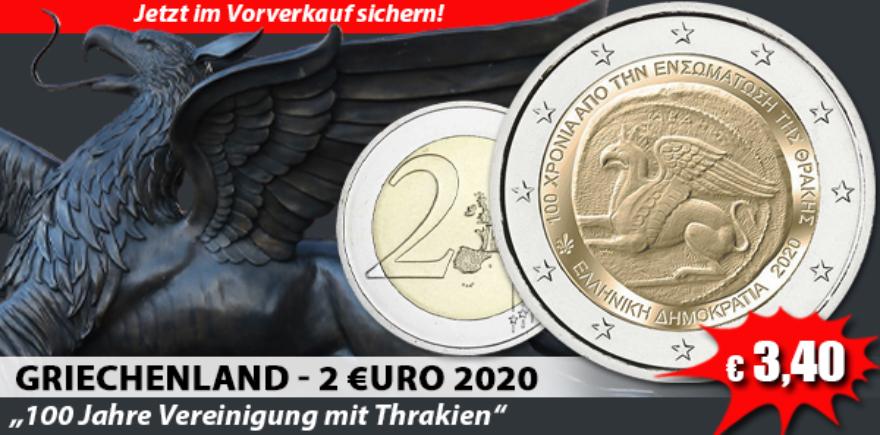 Griechenland 2 Euro 2020 bfr. Vereinigung mit Thrakien