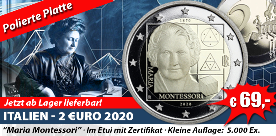 Italien 2 Euro 2020 Maria Montessori