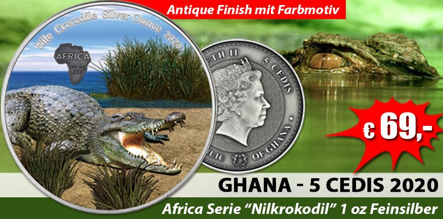 Ghana 5 Cedis 2020 Nilkrokodil - Silber Unze Abopreis in FARBE