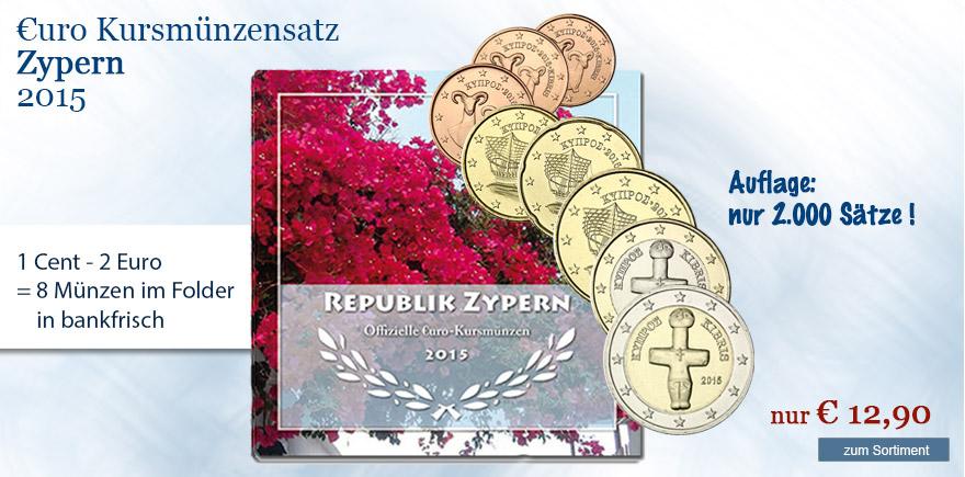 Euro Kursmünzen satz Zypern 2015