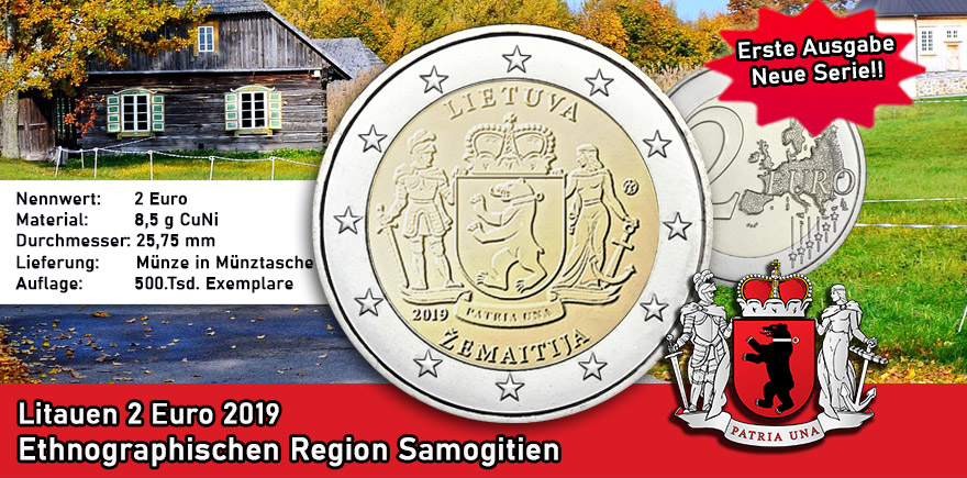 Litauen 2 Euro 2019 bfr. Ethnographische Regionen - Zemaitija