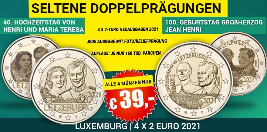 2 Euro Euromünzen Luxemburg 2021 | Historia-hamburg.de