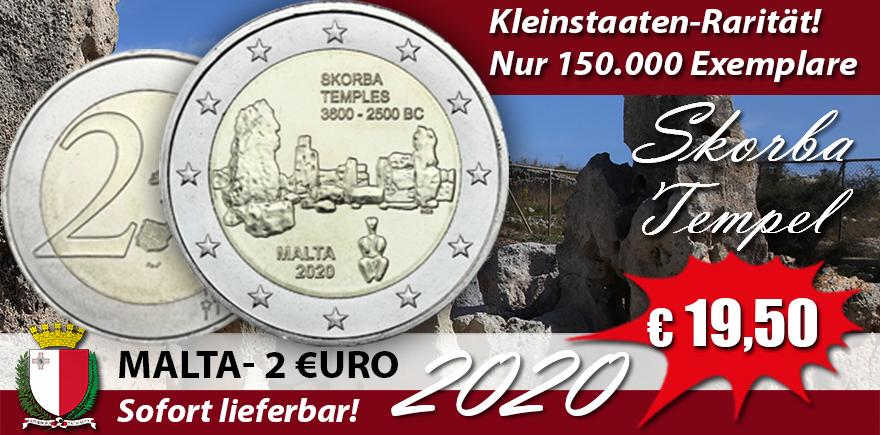 Malta 2 Euro 2020 bfr. Tempel Skorba - Serie Prähistorische Stätten Maltas