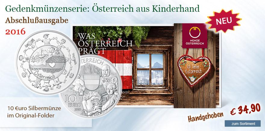10 Euro Münze Österreich Kinderhand