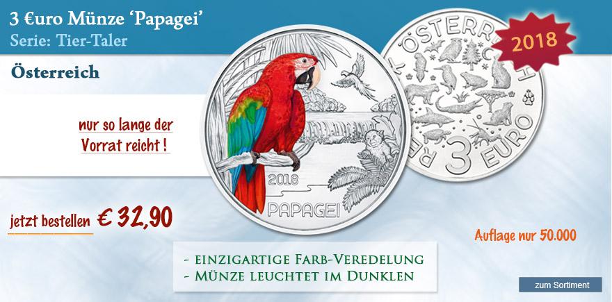 Münze Österreich 3 Euro Papagei silber