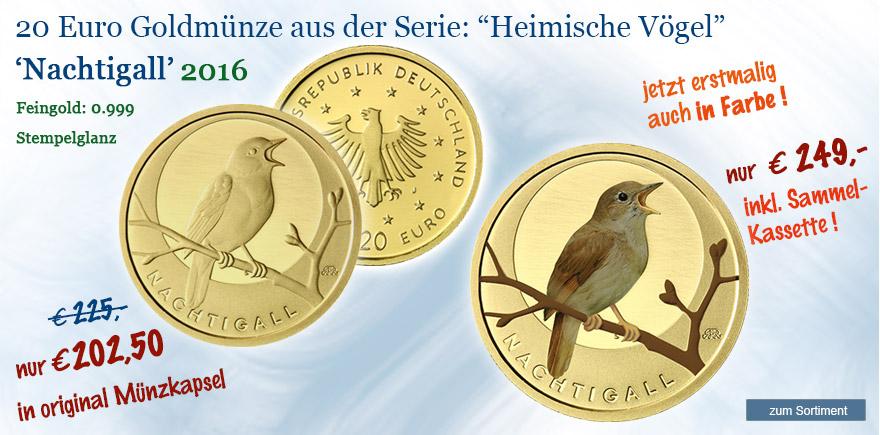20 Euro Goldmünzen Nachtigall Einheimische Vögel